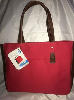 """New HP Laptop 15.6"""" Canvas Tote Chili Pepper Red Dual Handle"""